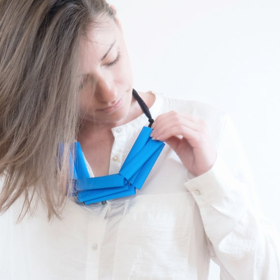Handmade necklace made of tulle webbing with rubber applications - black, sky blu details - Made in Italy Mod 040