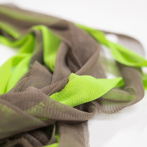Handmade necklace made of tulle and cotton webbings - Army green, lime green - Made in Italy Mod 015.1