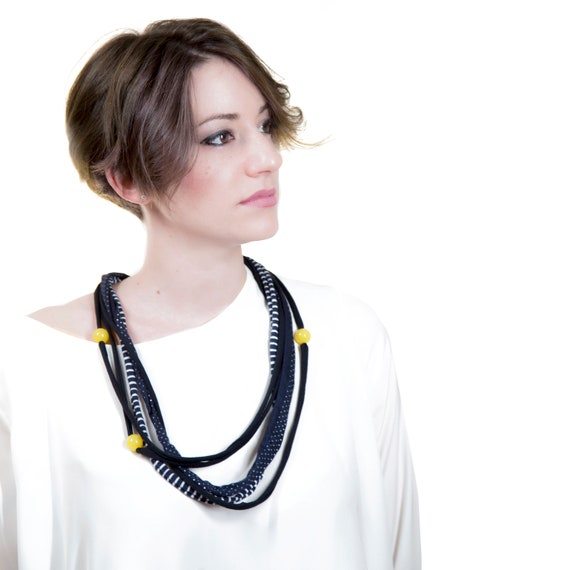 Handmade necklace made of cotton webbing with resin applications - Blue, stripes and dot pattern, yellow details - Made in Italy Mod 018.0