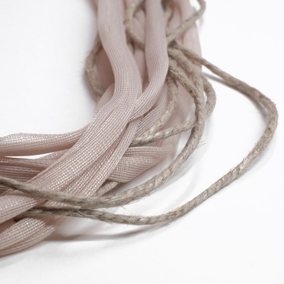 Handmade necklace made of tulle webbing and jute twine string - Soft sand, natural juta colors- Made in Italy Mod 014.0