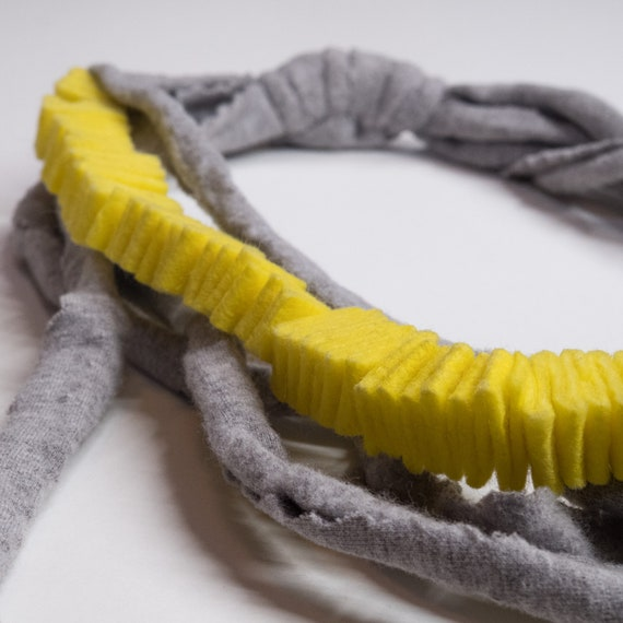 Handmade necklace made of cotton webbing with microfibre applications - Grey, yellow details - Made in Italy Mod 037.1