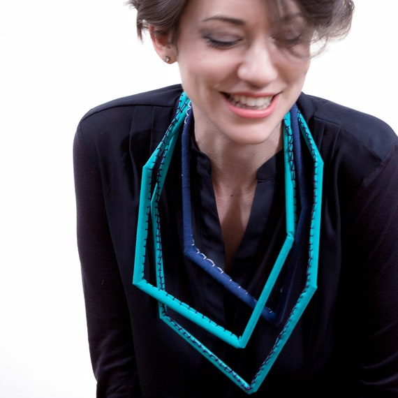 Handmade necklace made of cotton webbing,  hand-sewn - Turquoise, blue - Made in Italy Mod 013