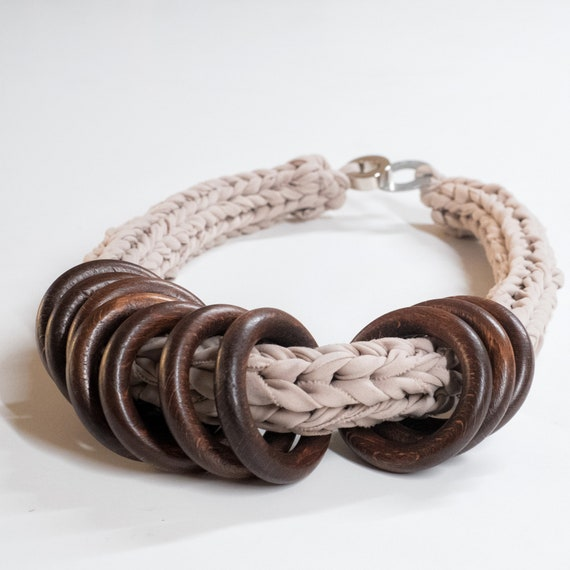 Handmade necklace made of crocheted cotton webbing with wood applications - Soft sand and brown details - Made in Italy Mod 004