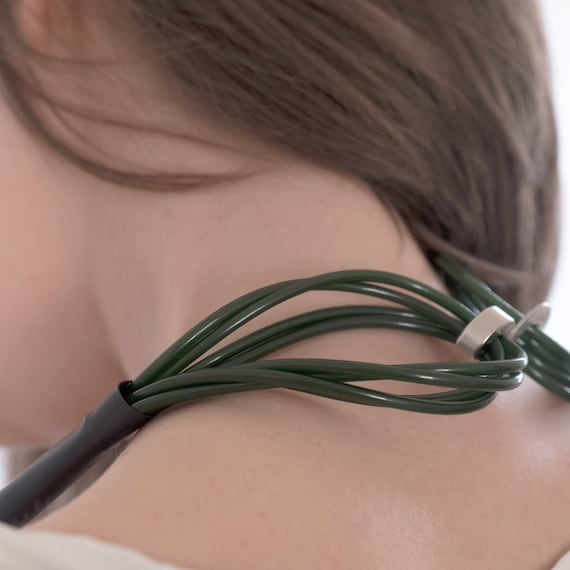 Handmade necklace made of plastic and rubber - Dark green and black details - Made in Italy Mod 044