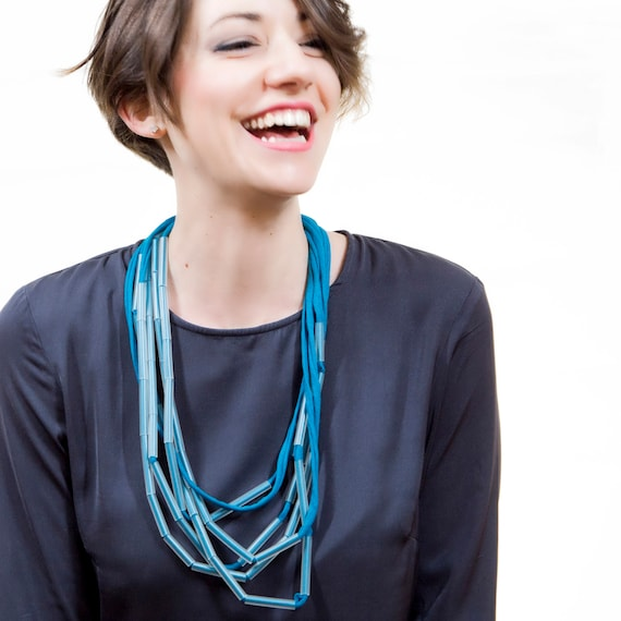 Handmade necklace made of cotton webbing and PVC - Sky blue - Made in Italy Mod 010