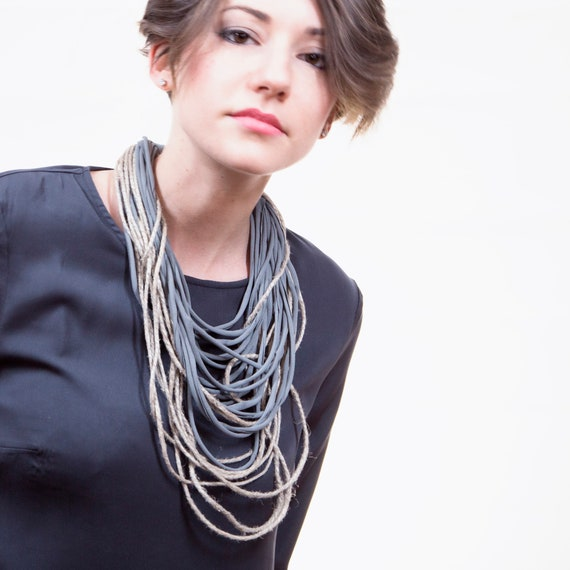 Handmade necklace made of tulle webbing and jute twine string - grey, natural juta - Made in Italy Mod 014.2