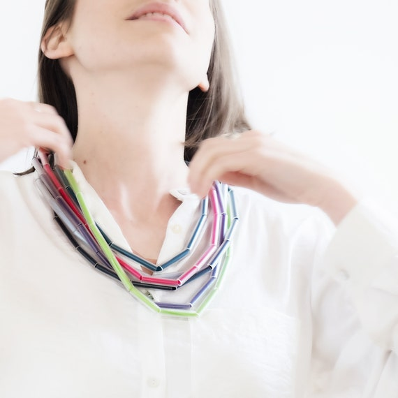 Handmade necklace made of tulle webbing, PVC and plastic straws - Multicolour - Made in Italy Mod 039
