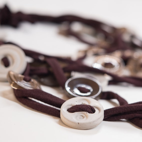 Handmade necklace made of cotton webbing with resin and concrete applications - Brown and grey details - Made in Italy Mod 016.0