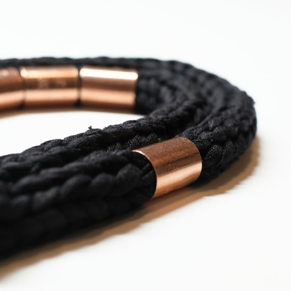 Handmade necklace made of crocheted tulle webbing with copper applications - Black and copper details - Made in Italy Mod 007