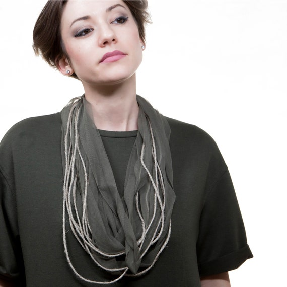 Handmade necklace made of tulle webbing and jute twine string - Army green, natural juta - Made in Italy Mod 014.1
