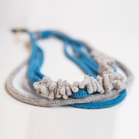 Handmade necklace made of wool yarn with microfibre applications - Sky blue, grey - Made in Italy Mod 031