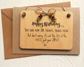 30th Personalised Birthday Card Funny For Him Or Her Handmade Greeting Wall Plaque Gift