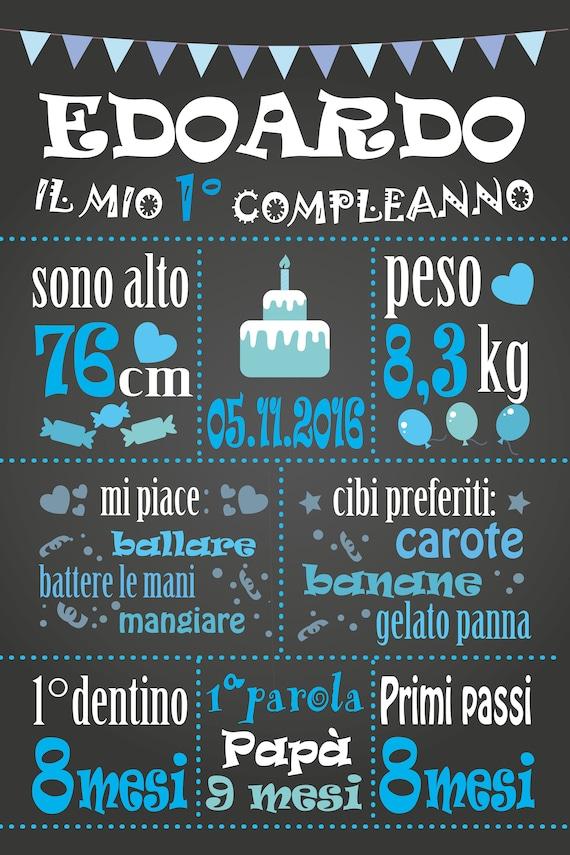 Poster Primo Compleanno Poster Un Anno Poster Lavagna Poster Effetto Lavagna File Digitale