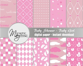 10 Scrapbooking Paper, It's a Girl, Baby Shower, Birth, Patterns Digital Paper Pack