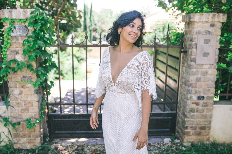 Fairy Wedding Dress Flutter Sleeve Bohemian Wedding Dress Etsy