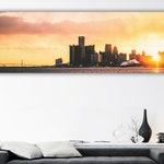 Detroit MI Skyline Sunset And Ambassador Bridge Photo Prints Wall Art  (Black and White Available)
