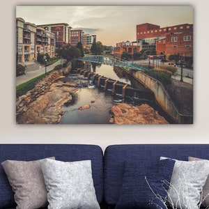 Greenville Sc Downtown Greenville Wall Art Canvas Photo Etsy