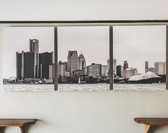 Detroit Winter Skyline Panorama Canvas Print