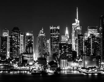 "New York City Skyline Panorama Metallic Prints (Set of 3 12""x12"")"