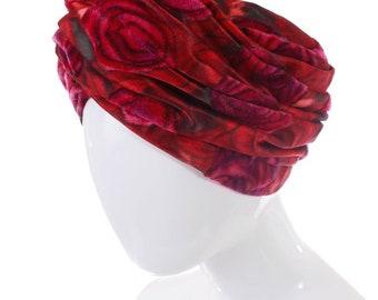 4dc0feec Christian Dior Hat Dior Chapeaux Red Velvet Turban Floral Turban 60s  Vintage Hat 60s Turban Mod Retro Women's Size SMALL 21