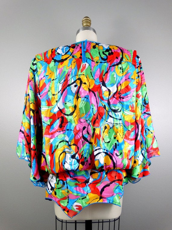 Bright Watercolor Beaded Top / Plus Size Embellish