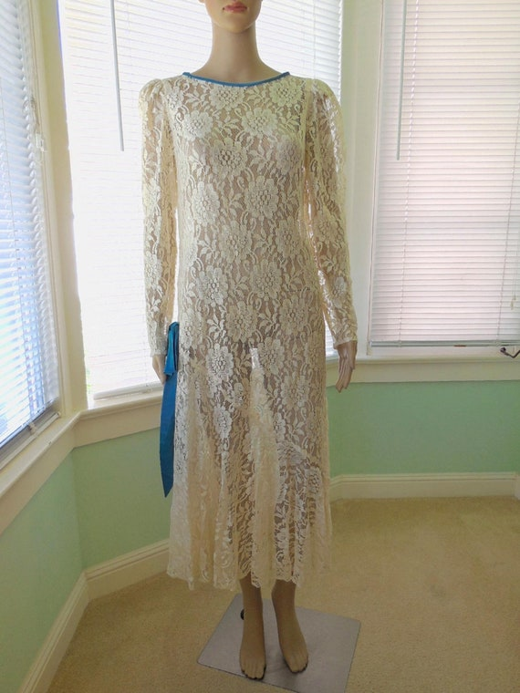 Vintage LACE DRESS/Sheer Lace Dress/Lace Over Dres