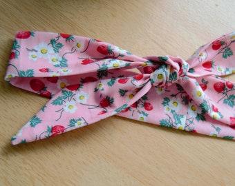 Cotton Strawberry Print Headscarf