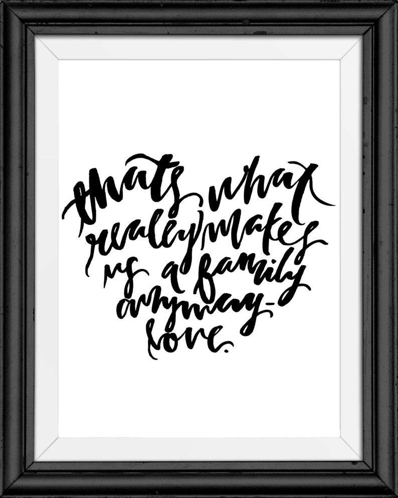 What Really Makes A Family  Hand Lettering Print image 0