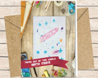 Birth Mother Card - Instant Download / Out of This World / birth mother card printable