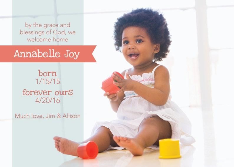 Adoption Announcement  By the Grace of God / Custom Digital image 0