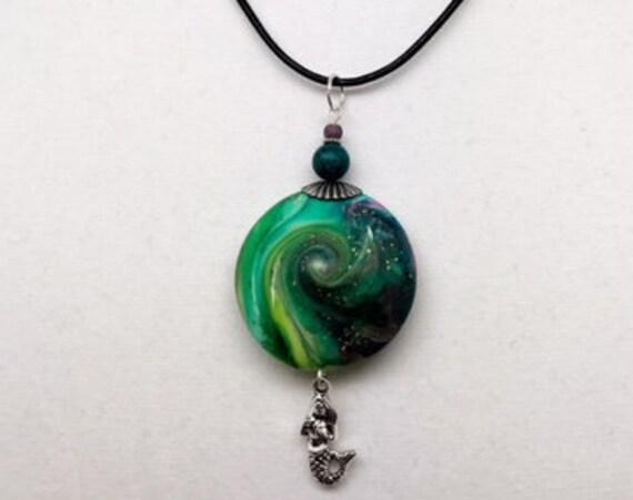 Karma Spiral Pendants -  Mermaid Gift, Spiral Power Gift, Polymer Clay Pendant, Good Luck Gift, Good Karma Gift, Boho Jewelry, #297