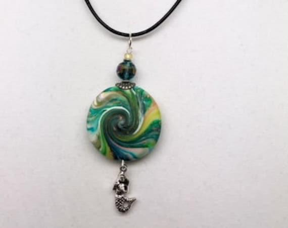 Karma Spiral Pendants - Mermaids Gift,  Spiral Power Gift, Polymer Clay Pendant, Good Luck Gift, Good Karma Gift, Boho Jewelry, #296