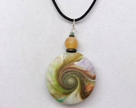 Karma Spiral Pendants - Spiral Power Gift, Polymer Clay Pendant, Good Luck Gift, Good Karma Gift, Boho Jewelry, One of a Kind Pendant, #277