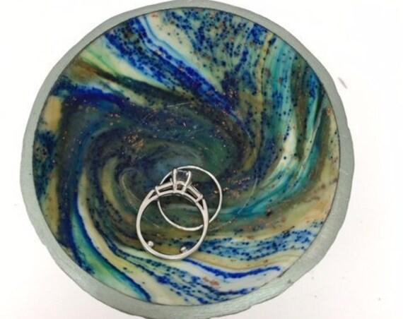 Karma Spiral Ring Dish - Ring Dish, Jewelry Dish, Trinket tray, Good Karma, Good Luck, Under 25 Gift, Wedding Ring Dish, Kaleidoscope, #43