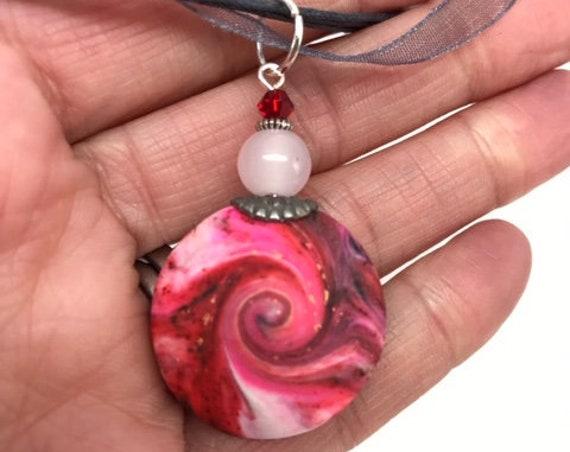 MINI Karma Spiral Pendant - Good Luck Pendant, Good Karma Gift, Boho Jewelry, Hippie Gift, Spiral Power Gift, Under15Gift, Polymer Clay #335