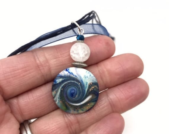 MINI Karma Spiral Pendant - Good Luck Pendant, Good Karma Gift, Boho Jewelry, Hippie Gift, Spiral Power Gift, Under15Gift, Polymer Clay #340
