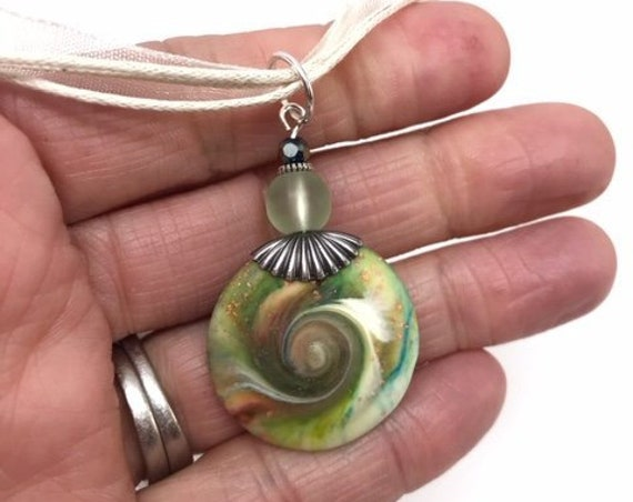 MINI Karma Spiral Pendant - Good Luck Pendant, Good Karma Gift, Boho Jewelry, Hippie Gift, Spiral Power Gift, Under15Gift, Polymer Clay #341
