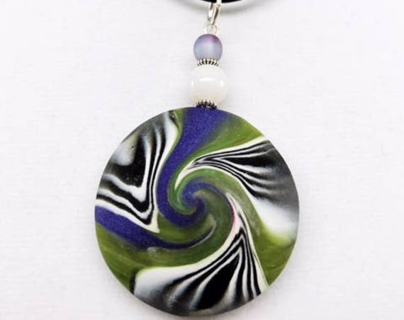 Karma Spiral Pendants - Spiral Power Gift, Polymer Clay Pendant, Good Luck Gift, Good Karma Gift, Boho Jewelry, One of a Kind Pendant, #267