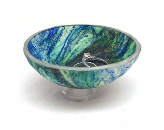 Karma Spiral Ring Dish - Ring Dish, Jewelry Dish, Trinket tray, Good Karma, Good Luck, Under 25 Gift, Wedding Ring Dish, Kaleidoscope, #50B