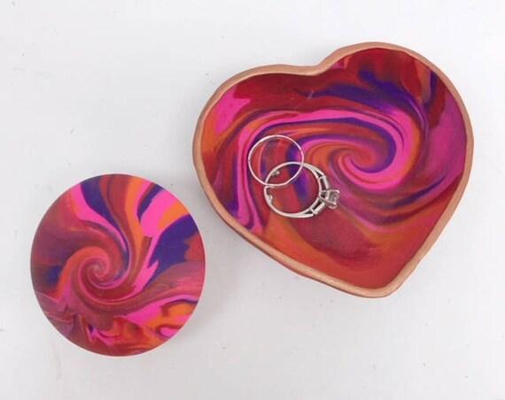 Karma Spiral Ring Dish/Spiral - Ring Dish, Fidget Tool, Jewelry Dish, Trinket tray, Good Karma, Good Luck, Talisman, Kaleidoscope, #8