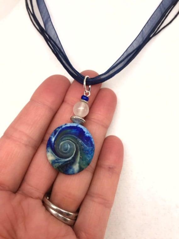 MINI Karma Spiral Pendant - Good Luck Pendant, Good Karma Gift, Boho Jewelry, Hippie Gift, Spiral Power Gift, Under15Gift, Polymer Clay #348