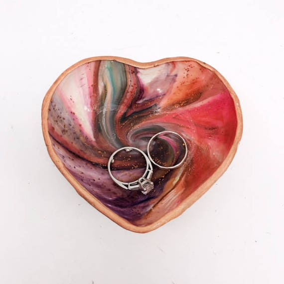 Karma Spiral Ring Dish - Ring Dish, Jewelry Dish, Trinket tray, Good Karma, Good Luck, Under 25 Gift, Wedding Ring Dish, Kaleidoscope,  #6B