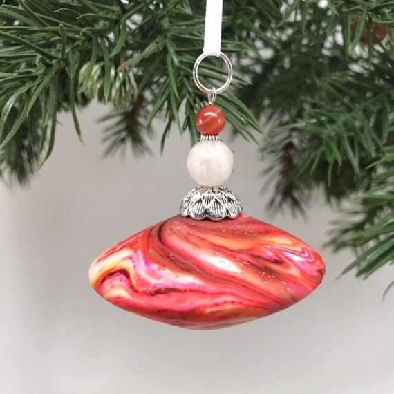 Christmas Ornament, Good Luck Ornament, Handmade Ornament, Good Karma Gift, Polymer Clay Ornament, Hostess Gift, Teachers Gift