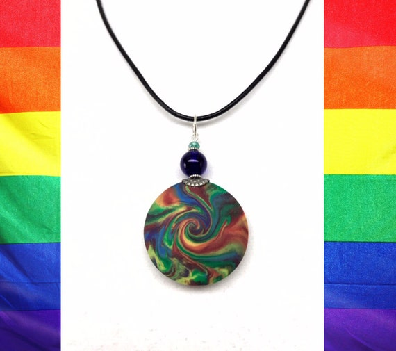 Karma Necklace, LGBT Gift, Polymer Clay Pendant, Good Luck Gift, Good Karma Gift, Boho Jewelry, One of a Kind Pendant, #325