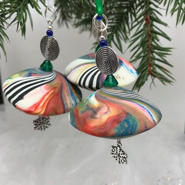 3 karma spiral ornaments wcharms christmas ornament handmade ornament good karma gift unique christmas ornament hostess gift 60