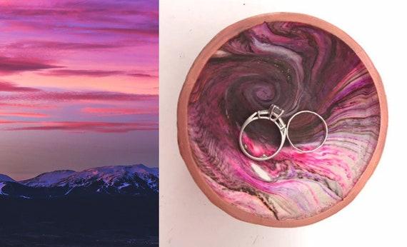 Karma Spiral Ring Dish - Ring Dish, Jewelry Dish, Trinket tray, Good Karma, Good Luck, Under 25 Gift, Wedding Ring Dish, Kaleidoscope, #2