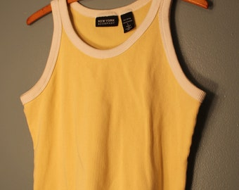 Vintage 1990's New York and Co. Yellow and White Tank Top Made in the USA