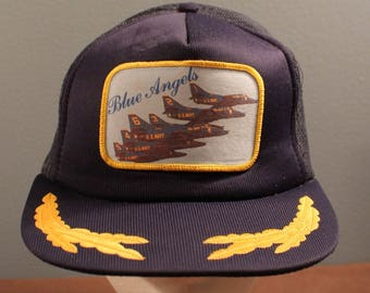 0365694cf7d Vintage US Navy Blue Angels Aircraft Patch with Gold Embroidery Mesh  Trucker Hat