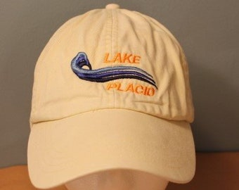 ff6132eb3b5 Vintage 1990 s Beige Lake Placid Dad Hat Adjustable Baseball Cap