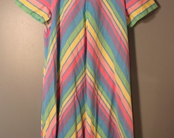 Vintage 1960's-1970's Striped Rainbow Full-Length Summer Dress Buzz About by, Rosemary Long